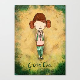 Green Tea Girl Canvas Print