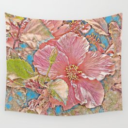 Dusty pink Hawaiian hibiscus flower Wall Tapestry