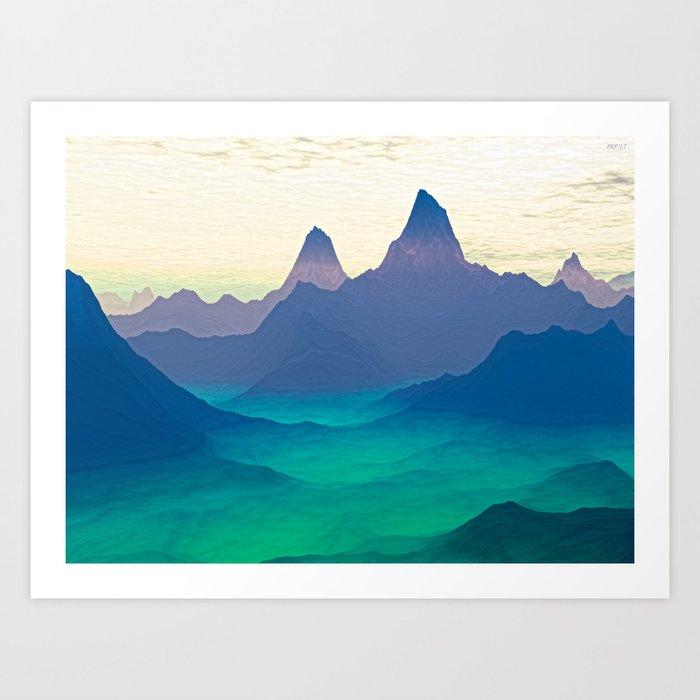Green Valley Landscape Art Print