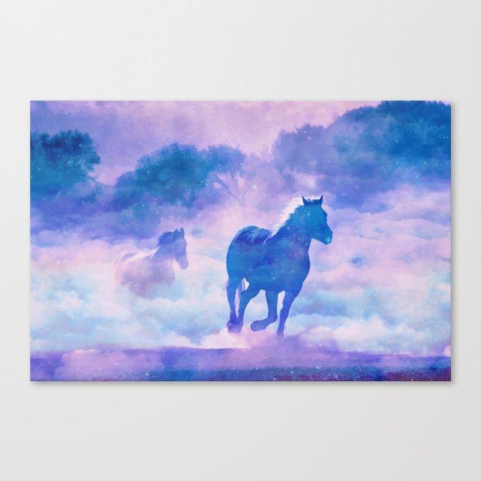 Horses run Canvas Print