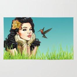 Retro Pinup Girl Smooching & Hummingbird Rug