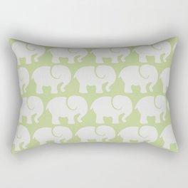 Troop Of Elephants (Elephant Pattern) - Gray Green Rectangular Pillow