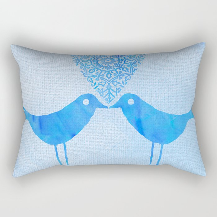cute watercolor birds with heart and Love is in the air Rectangular Pillow