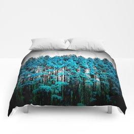 Turquoise Trees Gray Sky Comforters