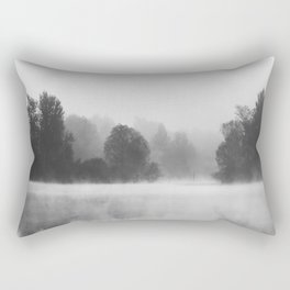 Trees disappearing in morning fog above the lake Rectangular Pillow