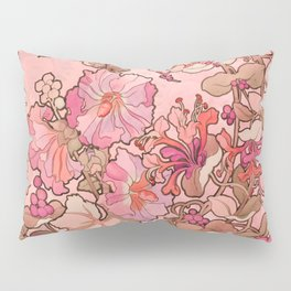 """Alphonse Mucha """"Printed textile design with hollyhocks in foreground"""" (edited red) Pillow Sham"""