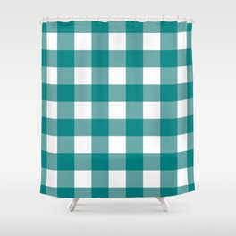 Gingham (Teal/White) Shower Curtain
