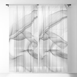 Minimal black and white smoky flux in motion #abstractart #decor Sheer Curtain