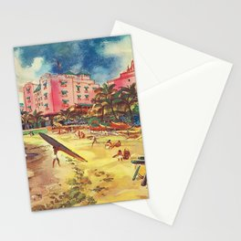 Hawaii's Famous Waikiki Beach landscape painting Stationery Cards
