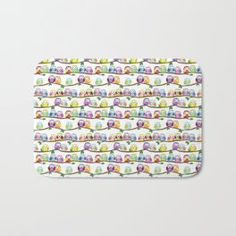 Colorful Owls On Branches Bath Mat