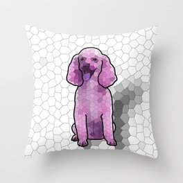 Poodle in Amethyst Mosaic Throw Pillow