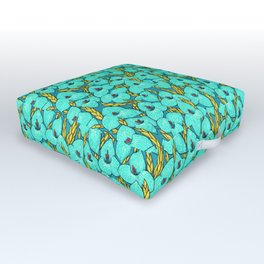 Blue Puya, Floral Pattern, turqouise, teal and yellow Outdoor Floor Cushion