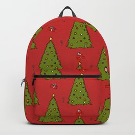 Red Christmas Trees Candy Gift Boxes Pattern Backpack