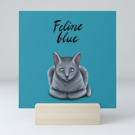 Feline blue Mini Art Print
