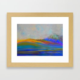 Clouds Rolling In Abstract Landscape Purple and Teal Framed Art Print
