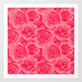 Pink Painted Roses Art Print