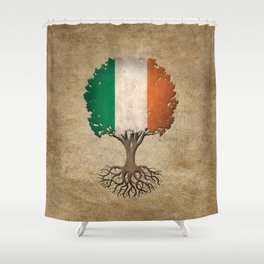 Vintage Tree of Life with Flag of Ireland Shower Curtain