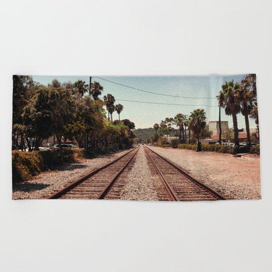 Rail Gazing Santa Barbara Beach Towel