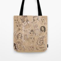 burlesque Tote Bags featuring Burlesque Sketchbook by Becky Ryan
