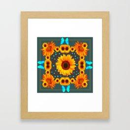 Blue Butterflies Golden Sunflowers Teal Art Framed Art Print