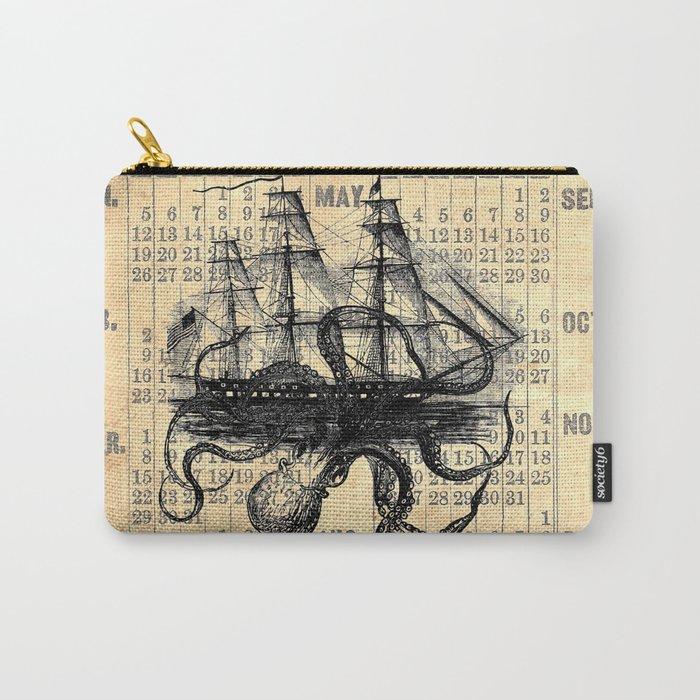 Octopus Kraken attacking Ship Antique Almanac Paper Carry-All Pouch