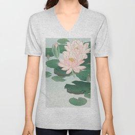 Water Lilies - Japanese vintage woodblock print Unisex V-Neck
