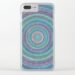 Pink and Turquoise Fractal Mandala Clear iPhone Case