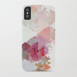Pink white rosegold triangle pattern iPhone Case