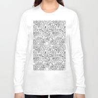 robots Long Sleeve T-shirts featuring Infinity Robots Black & White by Chris Piascik