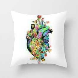 Flowers colorful heart watercolor Throw Pillow