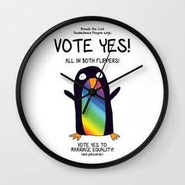 vote yes rainbow Wall Clock
