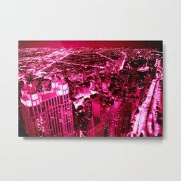 Chicago Skyline Hot Pink Metal Print