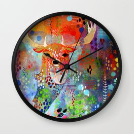The Deer in the Thicket Wall Clock