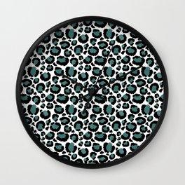 Teal Leopard Animal Print Pattern Wall Clock