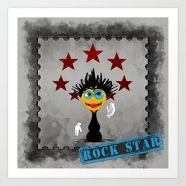 Rock Star Cartoony Illustration Art Print
