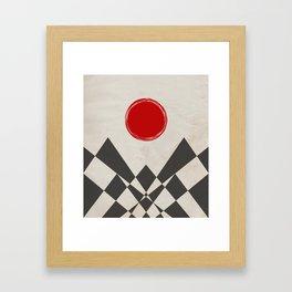 Grunge red sun Framed Art Print