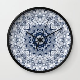 White blue lace pattern . Kaleidoscope . Wall Clock