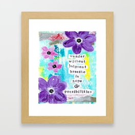 WANDER WITHOUT JUDGEMENT Framed Art Print