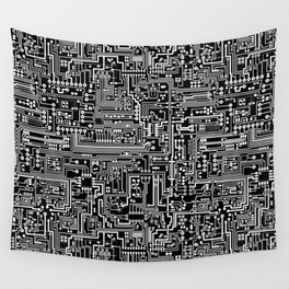 Circuit Board on Black Wall Tapestry
