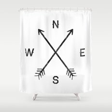 Compass (White) Shower Curtain