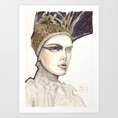 Portrait illustration in golden markers and pencils Art Print