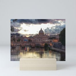 Incredible Sky with Sunset over St Peter, Vatican Rome Mini Art Print