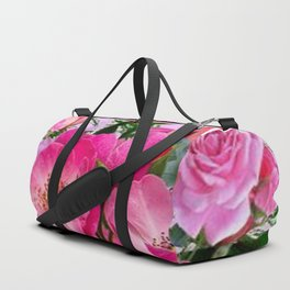 SPRING FUCHSIA PINK ROSES GARDEN ART PATTERN Duffle Bag
