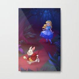Follow the White Rabbit Metal Print