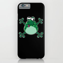 Funny Jumping green Frog for animal lover iPhone Case