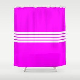 "4 Stripes on Pink ""Girlpower"" Shower Curtain"