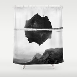 Black and White Isolation Island Shower Curtain