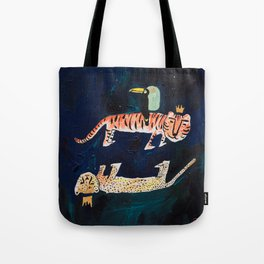 Tiger, Cheetah, Toucan Painting Tote Bag