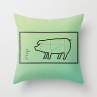 pig Throw Pillows featuring Pig by Flequillo