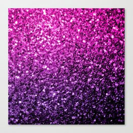 Purple Pink Ombre glitter sparkles Canvas Print